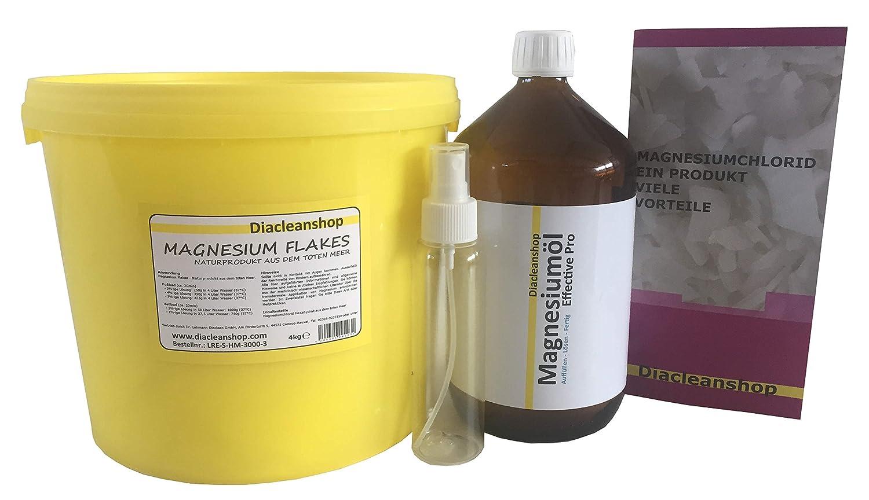 Cloruro de magnesio de Juego: magnesiumöl 1000 ml con botella de spray & Magnesio Flakes 4000 g en asequible Set. Ahorre con el Magnesio de Juego en ...