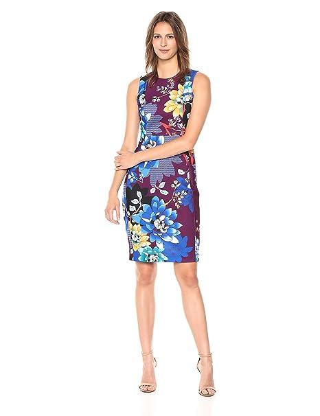ba12f6c7 Calvin Klein Women's Scuba Crepe Sleeveless Princess Seam Sheath Dress:  Amazon.ca: Clothing & Accessories