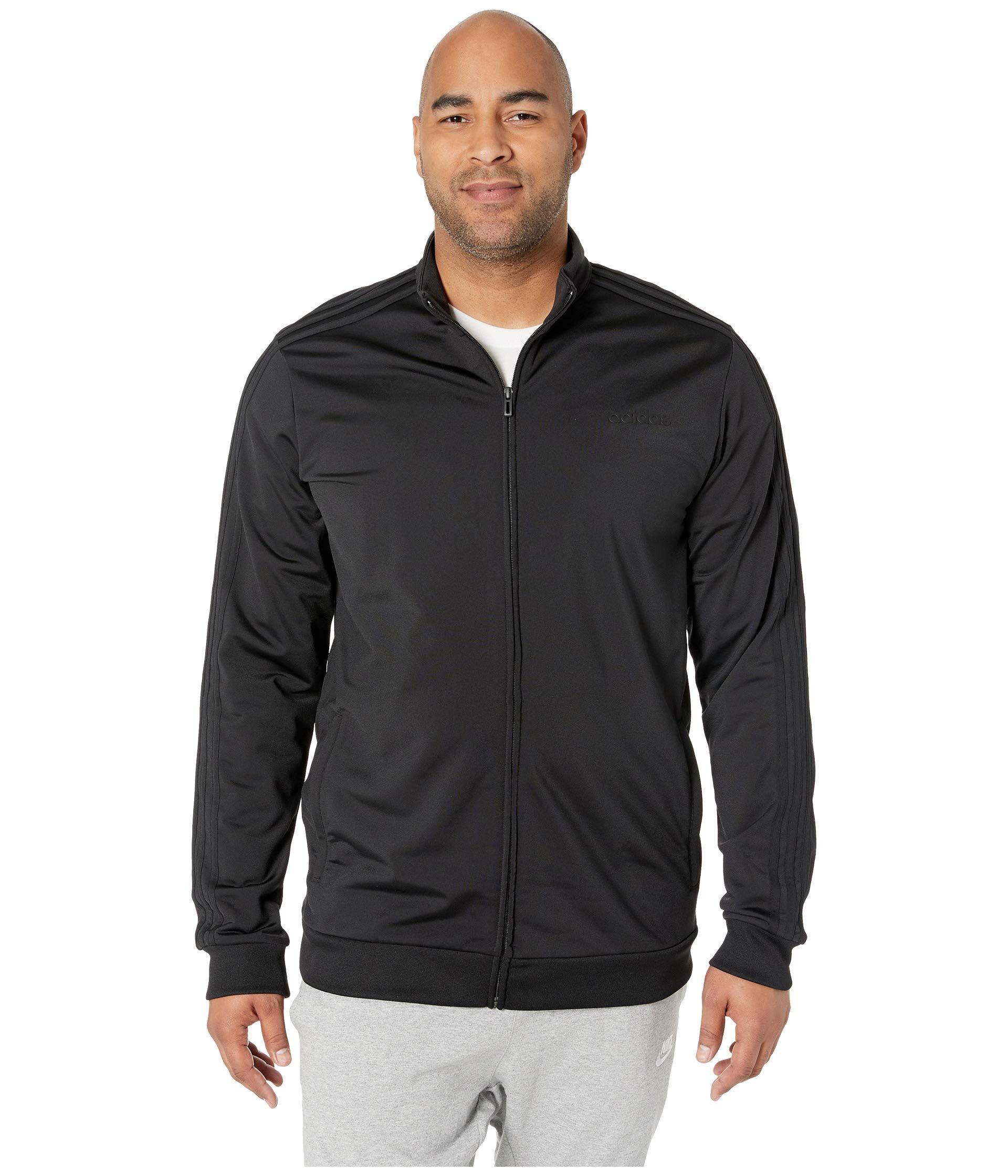adidas Essentials Men's 3-Stripes Tricot Track Jacket, Black/Black, 4XLT by adidas
