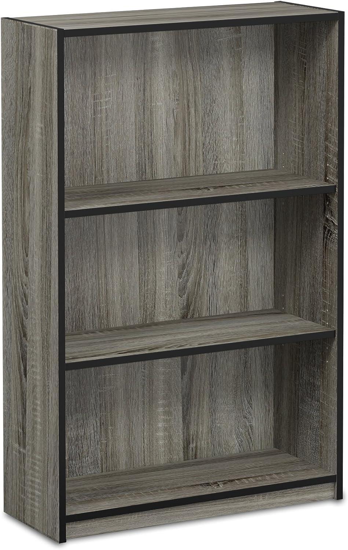 FURINNO JAYA Simple Home 3-Tier Adjustable Shelf Bookcase, French Oak Grey