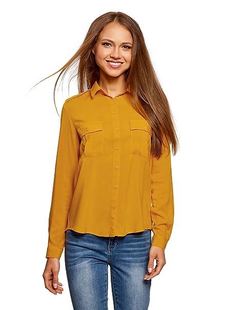 oodji Ultra Mujer Blusa Básica de Viscosa con Bolsillos en el Pecho, Amarillo, ES