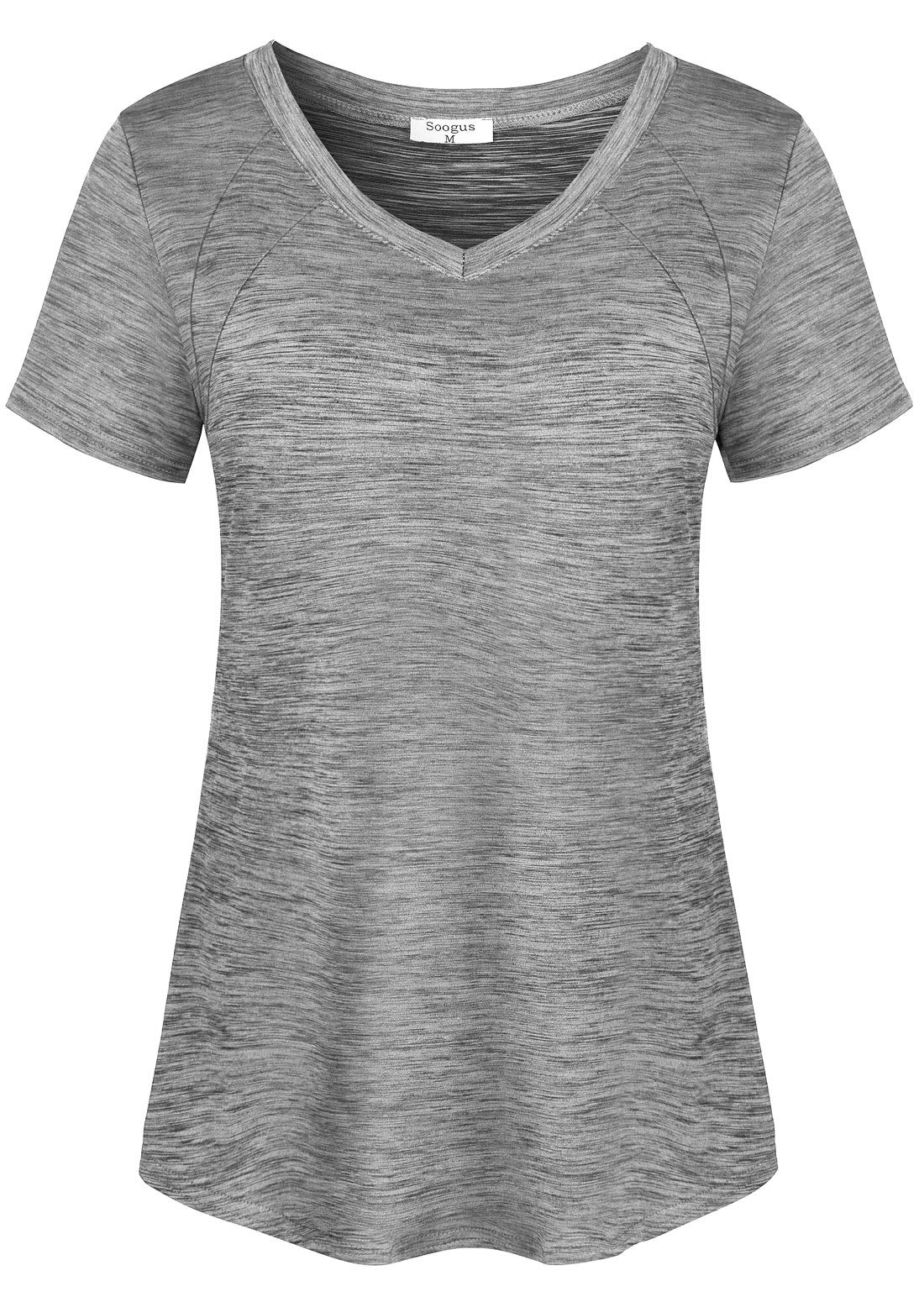 Soogus Womens Workout Tops Short Sleeve Sweat Wicking Quick Dry Athletic Yoga Shirts V Neck Breathable Activewear T-Shirt (Gray, L) by Soogus