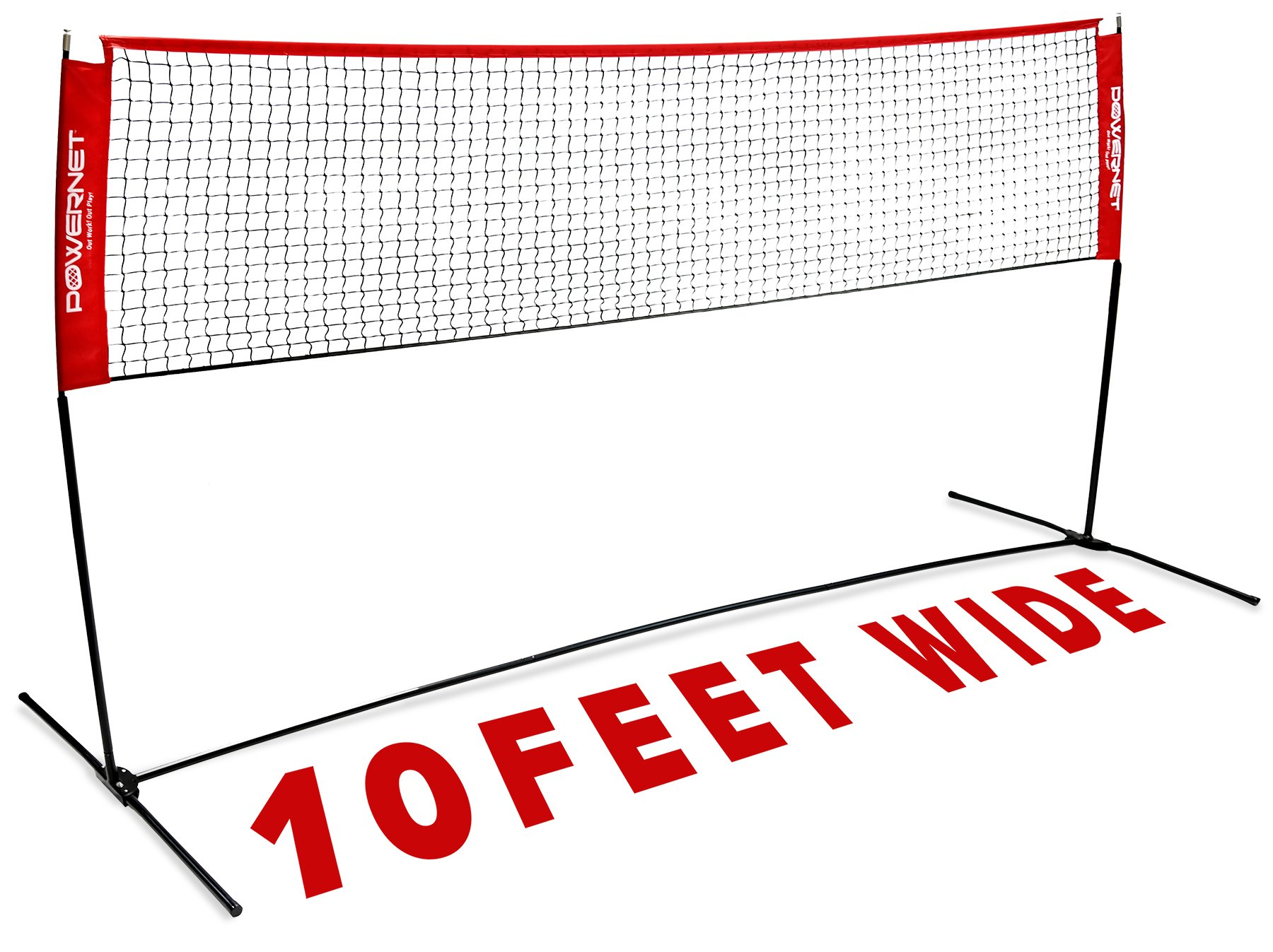 PowerNet Portable Badminton, Tennis, Volleyball, Pickleball Net | 10ft Wide | 3ft to 5ft Adjustable Height | Net and Frame | Driveway, Indoor, Outdoor, Beach, Street, Backyard | EZ Setup Collapsible