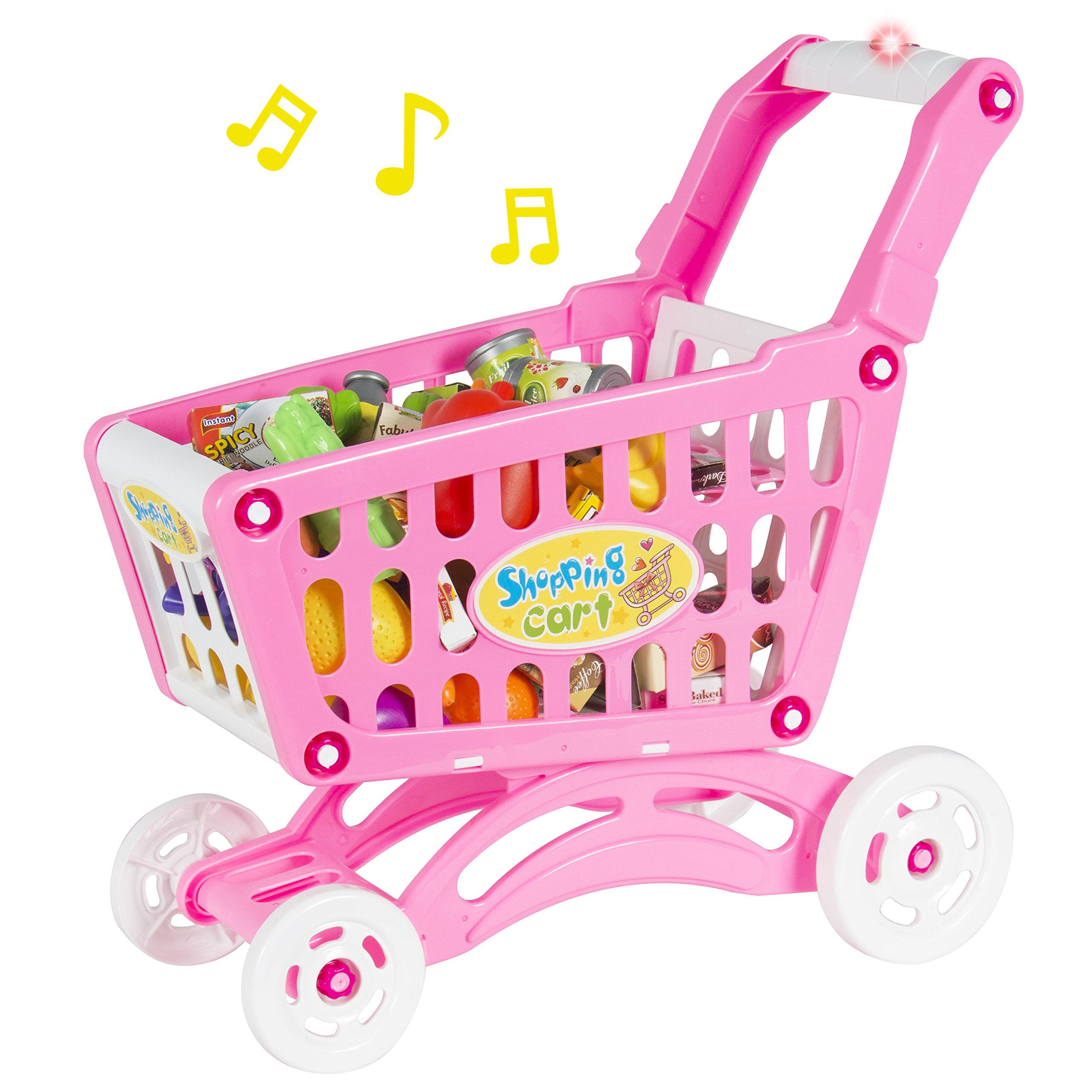 Best Choice Products Musical Shopping Cart Pretend Play Toy with Food Fruits Vegetables and Lights