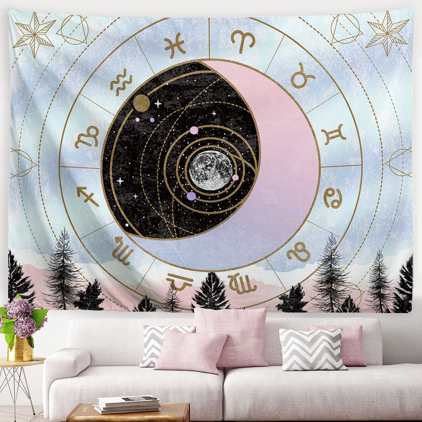 MENORCA Pink Moon Phase Constellation Wall Tapestry For Teen Bedroom Aesthetic, Astrology Tapestry Zodiac Sign Tapestry Celestial Tapestry Galaxy Witchy Room Decor- 59 Inch*40Inch-Small