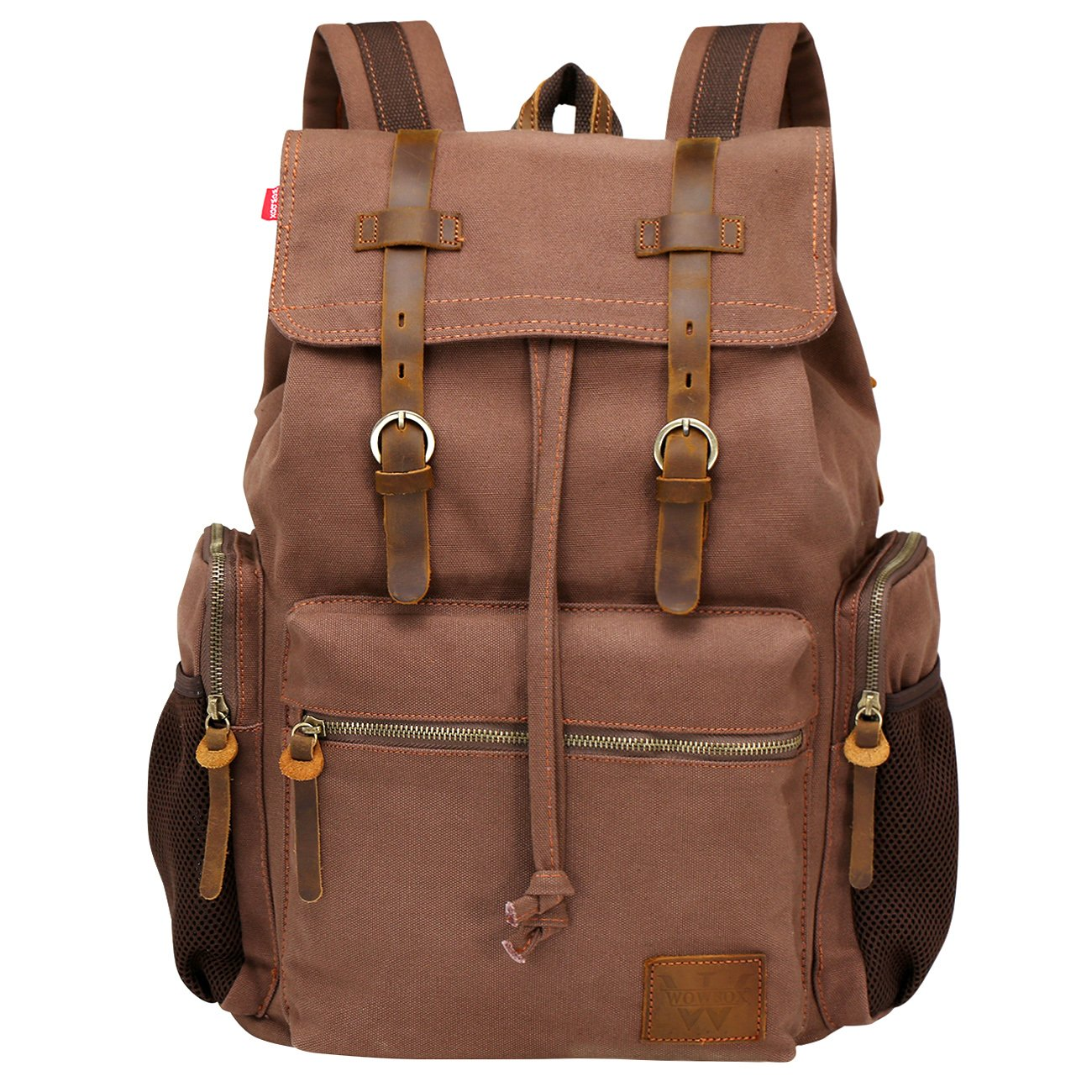 Wowbox 15.6 Inch Laptop Canvas Backpack Unisex Vintage Leather Casual Rucksack  School College Bags Satchel Bookbag Large Capacity Hiking Travel Rucksack  ... a22b0f2e031ba