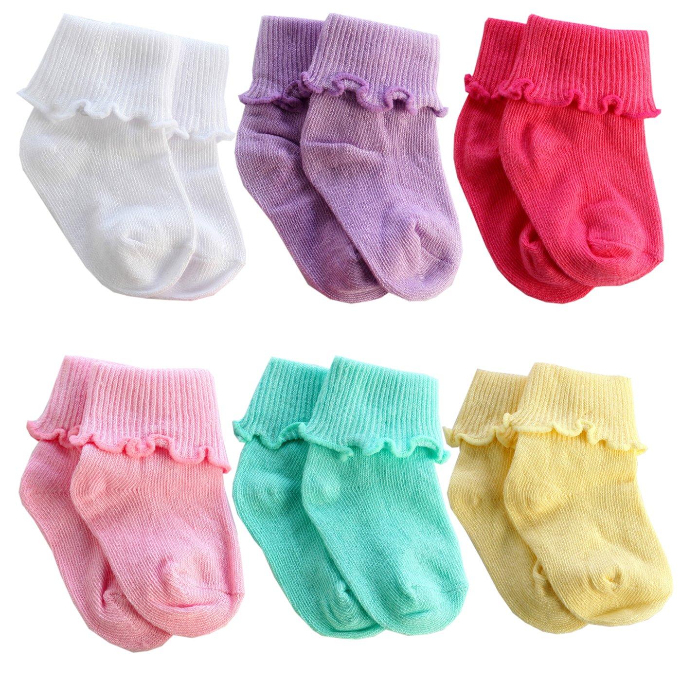 6 Packs Newborn Toddler Baby Cotton Warm Non Slip Ankle Socks from Sept.Filles