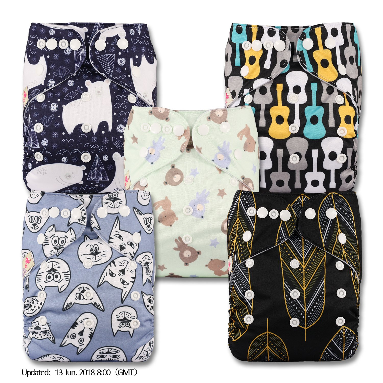 Littles & Bloomz, Reusable Pocket Cloth Nappy, Fastener: Popper, Set of 5, Patterns 505, With 5 Microfibre Inserts