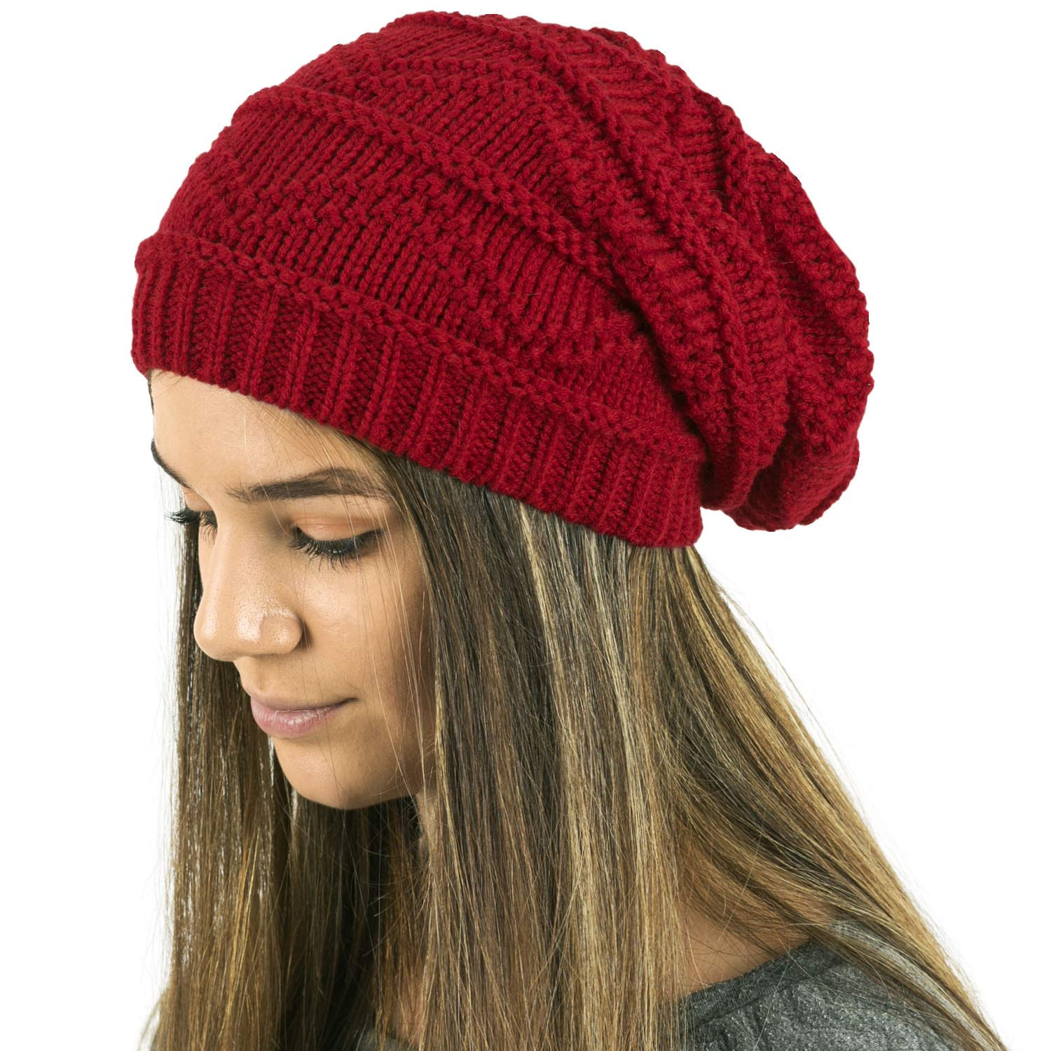 44e7e0aab49725 Ladies Knit Slouch Winter Hat/Beanie - RED at Amazon Women's Clothing store: