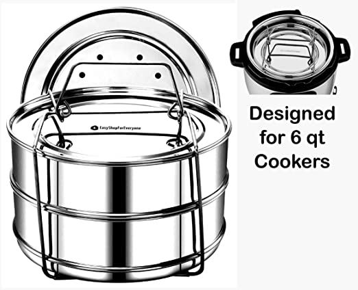 EasyShopForEveryone Stainless Steel 2 Tier Stackable Steamer Inserts - Compatible with Instant Pot in Pot Accessory 6 qt, 2 Lids, Cheesecake Baking ...
