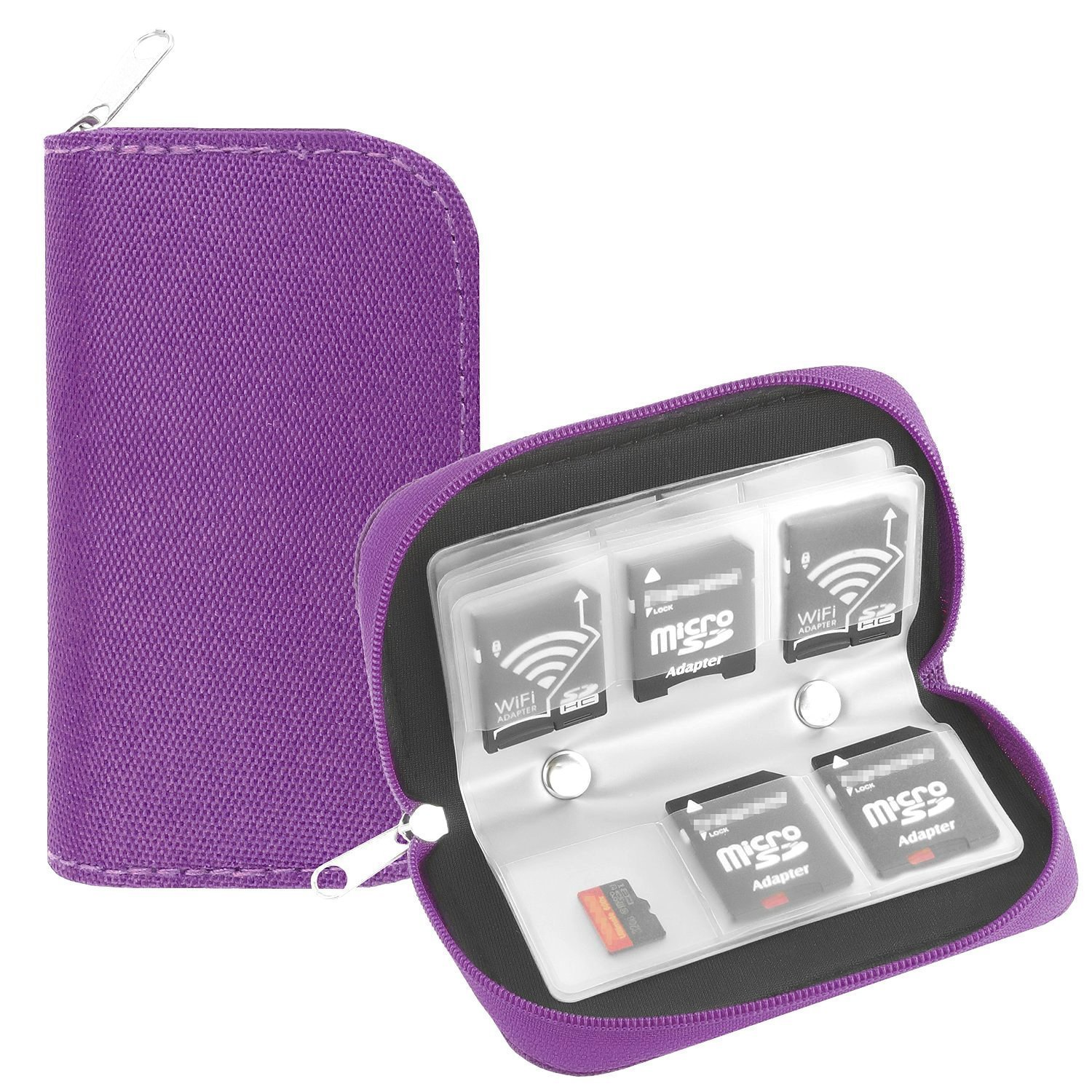 Memory Card Case, WOVTE Portable 8 Pages and 22 Slots SD SDHC MMC CF Micro SD Memory Camera Card Case Holder Pouch Zippered Storage Bag (Purple) LYSB01AFQCC3Q-CMPTRACCS