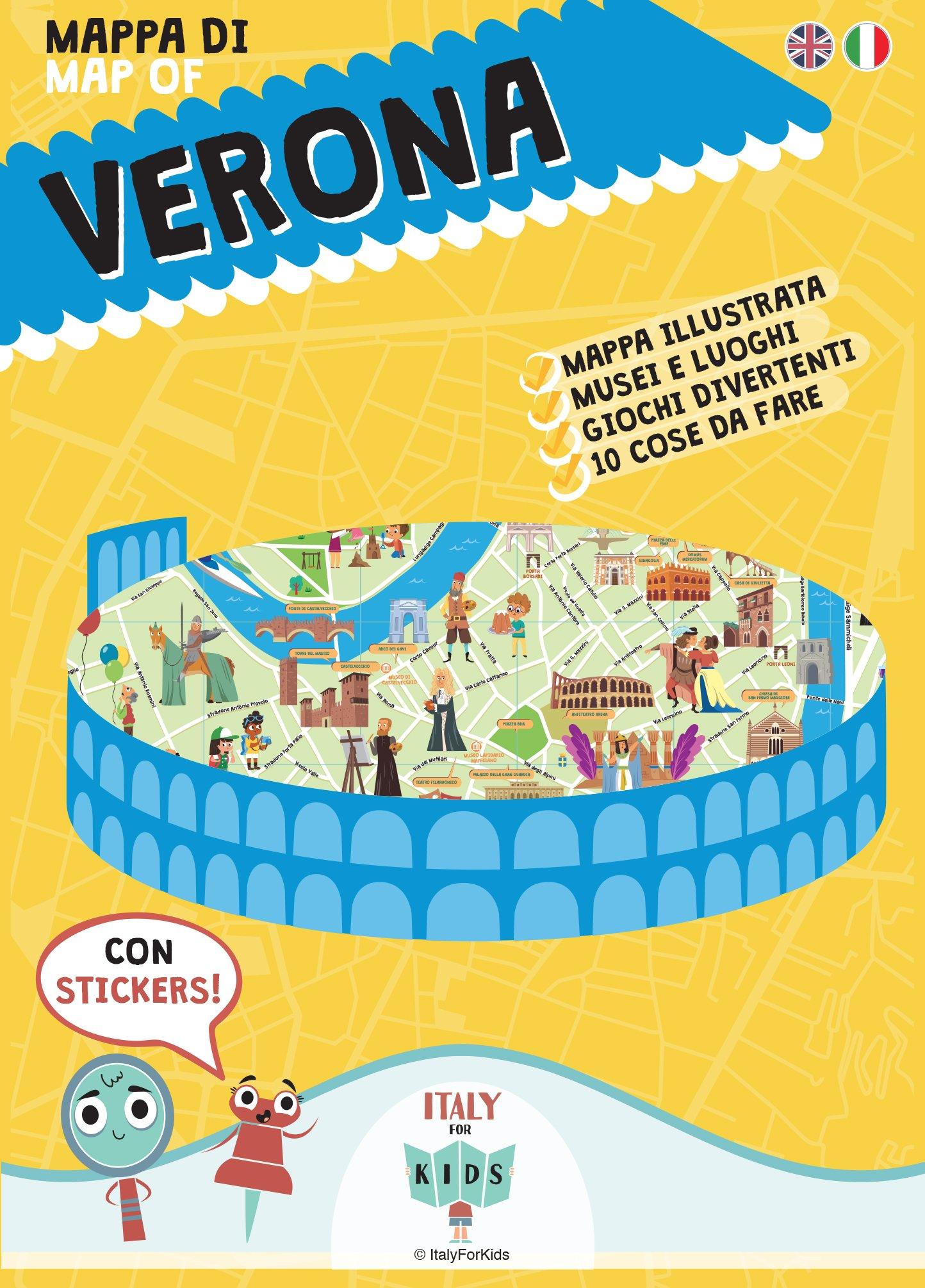 Verona Sulla Cartina Geografica.Mappa Di Verona Illustrata Con Adesivi Amazon It Sara Dania