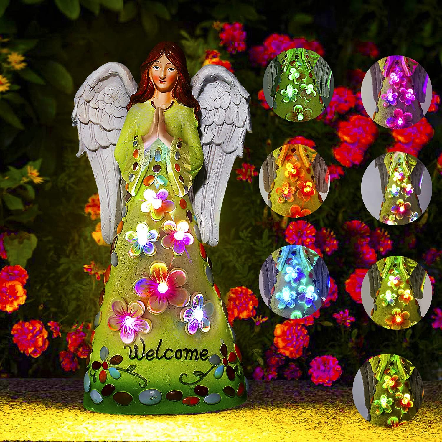 Angel Garden Statue Outdoor Decor Solar Figurine Lights Yard Art Angel Solar Stake Lights with 6 Color Change LEDs for Patio, Lawn, Yard, Porch Decoration, Memorial Gifts (Color Change)