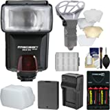 Precision Design DSLR350 High Power Auto Flash with LP-E10 Battery & Charger + Diffuser + Kit for Canon EOS Rebel T5 & T6 Cameras