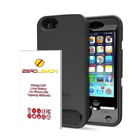 official photos b8ca3 c3d72 iPhone SE Battery Case, ZeroLemon 4600mAh Removable Rugged Juicer Triple  Layer Extended Battery Case for iPhone SE, iPhone 5/5s +Belt Clip + Dual ...