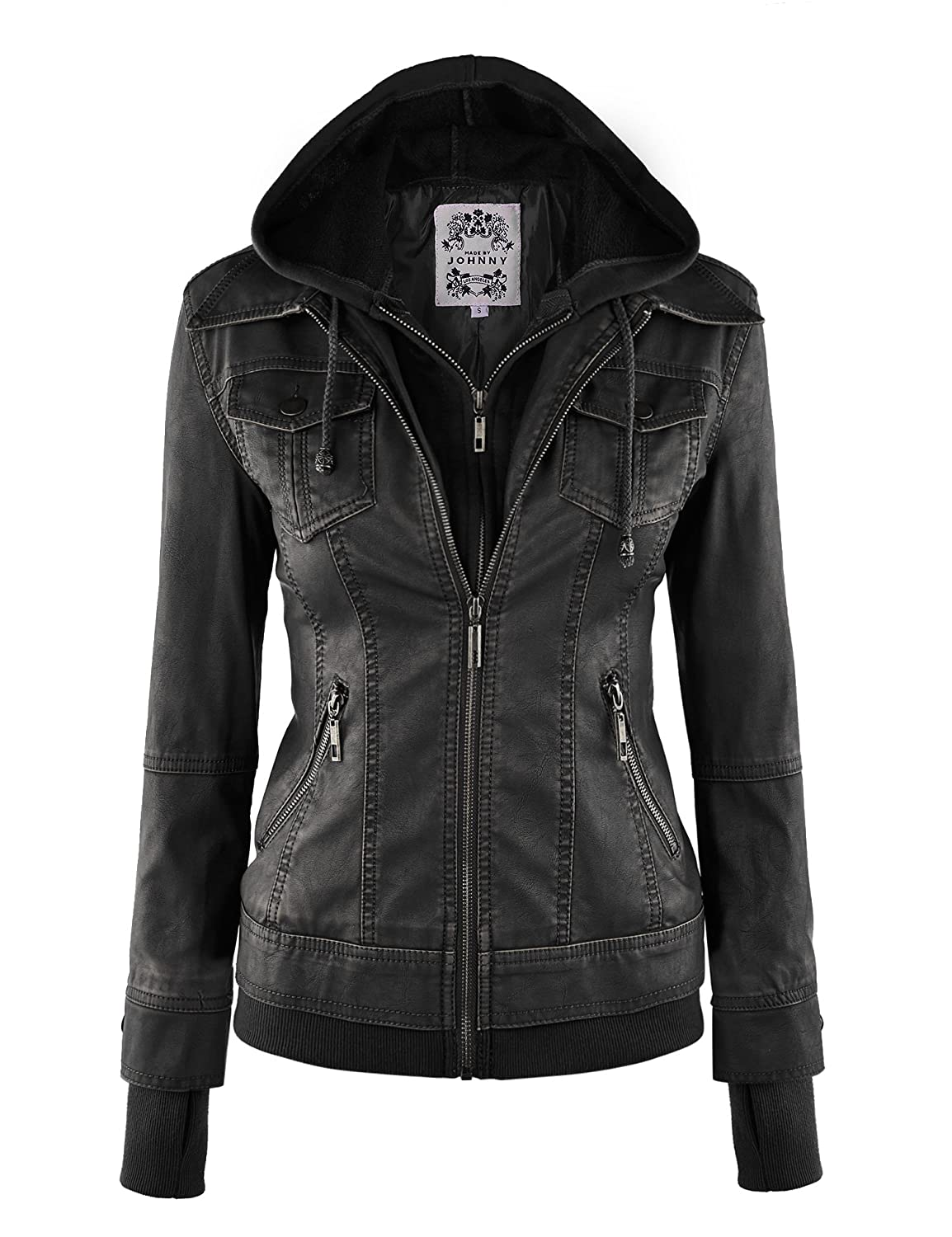 MBJ Womens Faux Leather Jacket with Hoodie at Amazon Women&39s Coats