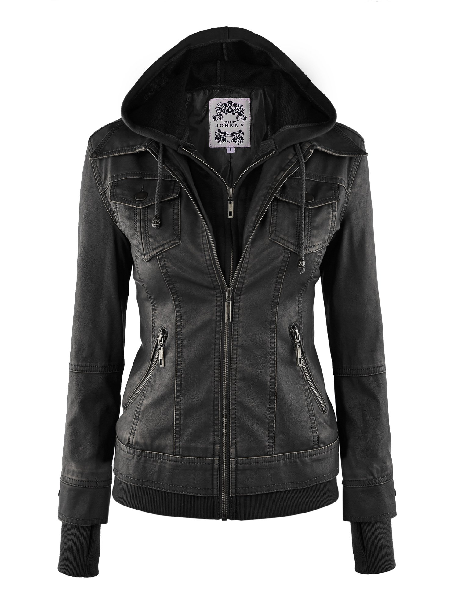 Made By Johnny WJC664 Womens Faux Leather Jacket with Hoodie XL Black