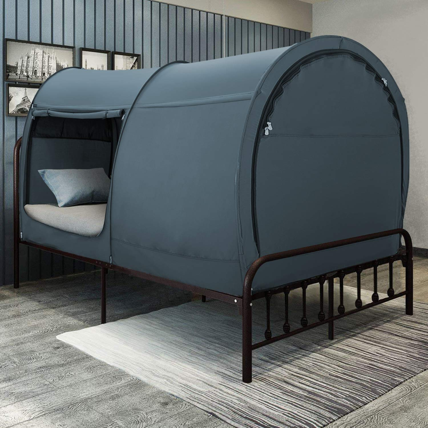 Bed Tent Dream Tents Bed Canopy Shelter Cabin Indoor Privacy Pop Up Warm Breathable Twin Size for Kids and Adult Patent Pending Gray(Mattress Not Included)