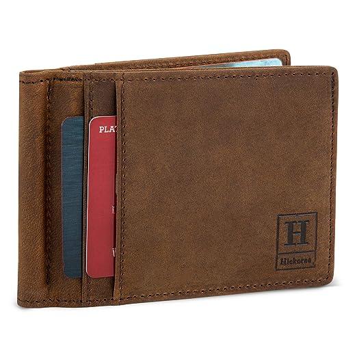 661eddb90cc4 Leather Wallets For Men Slim RFID Bifold Minimalist Front Pocket ...