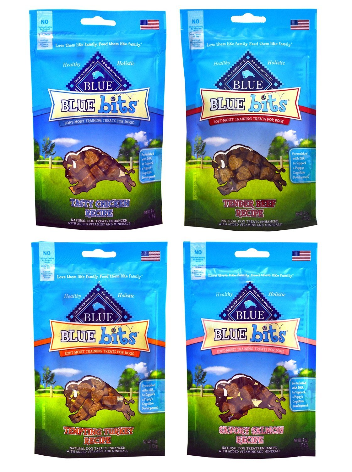 Blue Buffalo Treats Blue Bits Dog Treats – 4 Flavors (Savory Salmon, Tasty Chicken, Tender Beef, and Tempting Turkey) – 4 ounces each (4 Total Pouches)