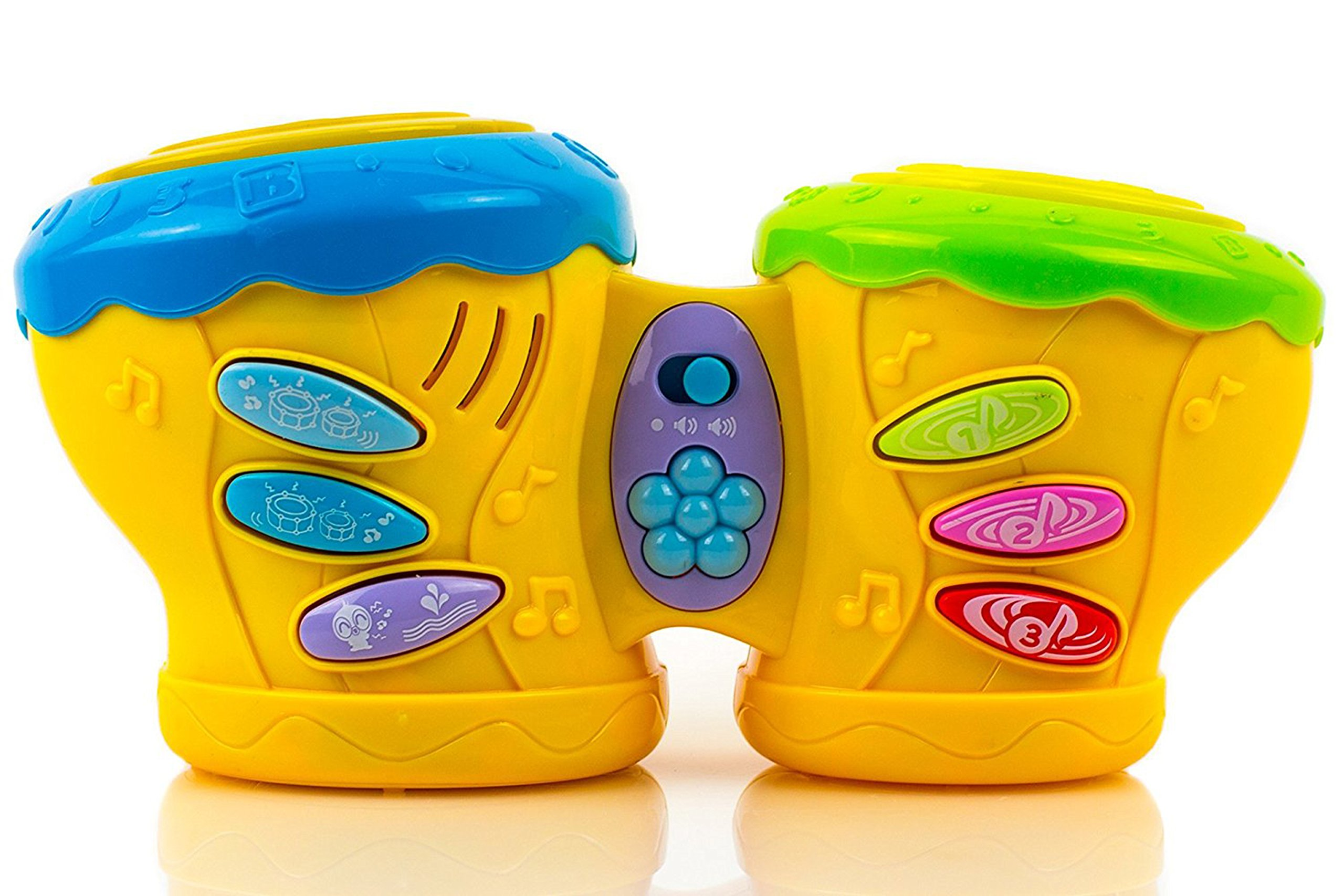 Toysery Multifunctional Musical Double Pat Drum Toy for Kids - Educational Baby Toy Drum with Lights and Sounds - Battery Operated.(Colors May Vary)