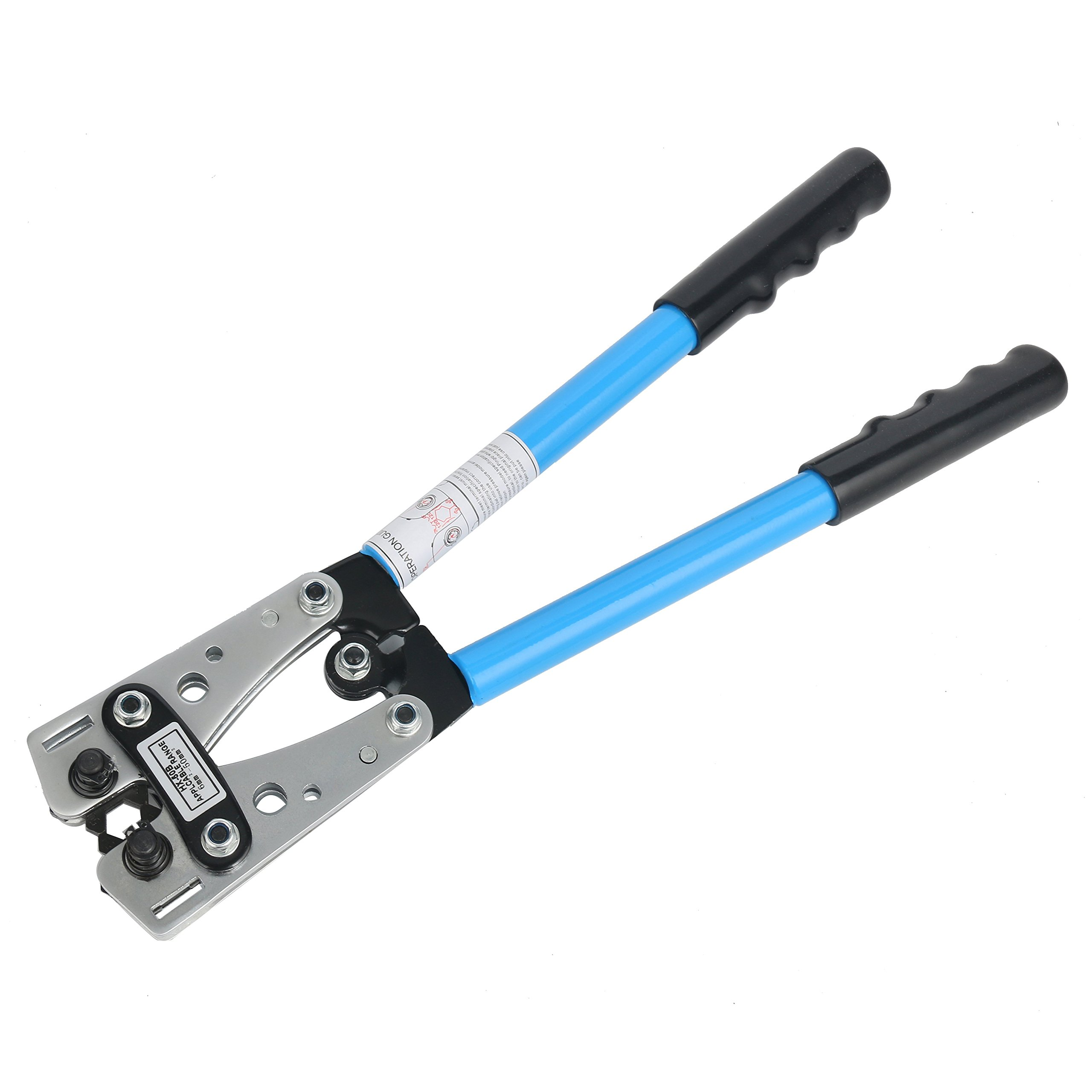 Yaetek Cable Crimper Cable Lug Crimping Tool Wire Crimper Hand Ratchet Terminal Crimp Pliers Wire Terminal Crimping Tool 6-50mm² Cable Lug Crimper Cu/Al Terminal for 10, 8, 4, 2, 1/0 AWG Wire Cable