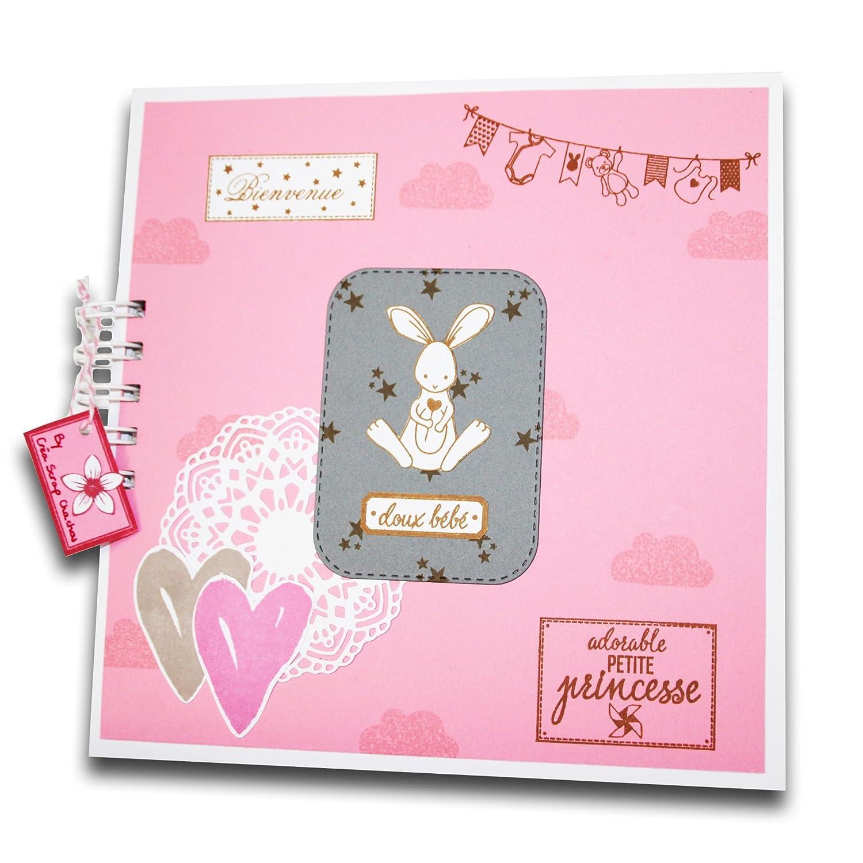 Album photo bébé: Idéal pour un cadeau de naissance, ce livre naissance est entièrement fait main – Pour bébé fille - 20 x 20 cm Scrap Chachou