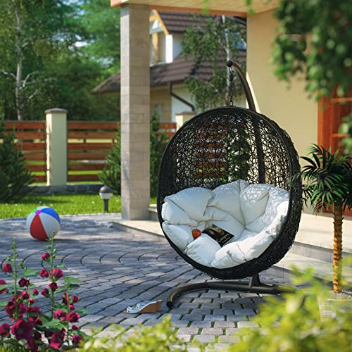 Modway EEI-739-SET Encase Wicker Rattan Outdoor Patio Porch Lounge Egg, With Stand, White