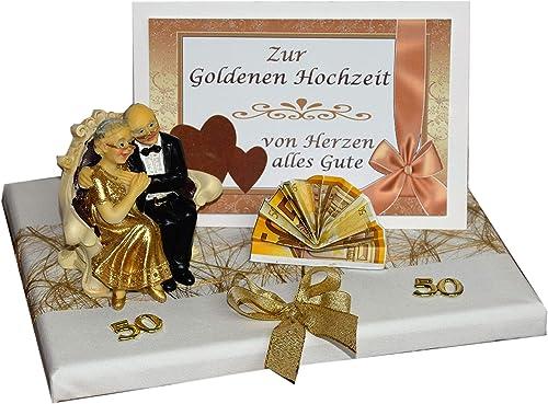 Geld Geschenk Zur Goldenen Hochzeit Mit Goldpaar Sitzend