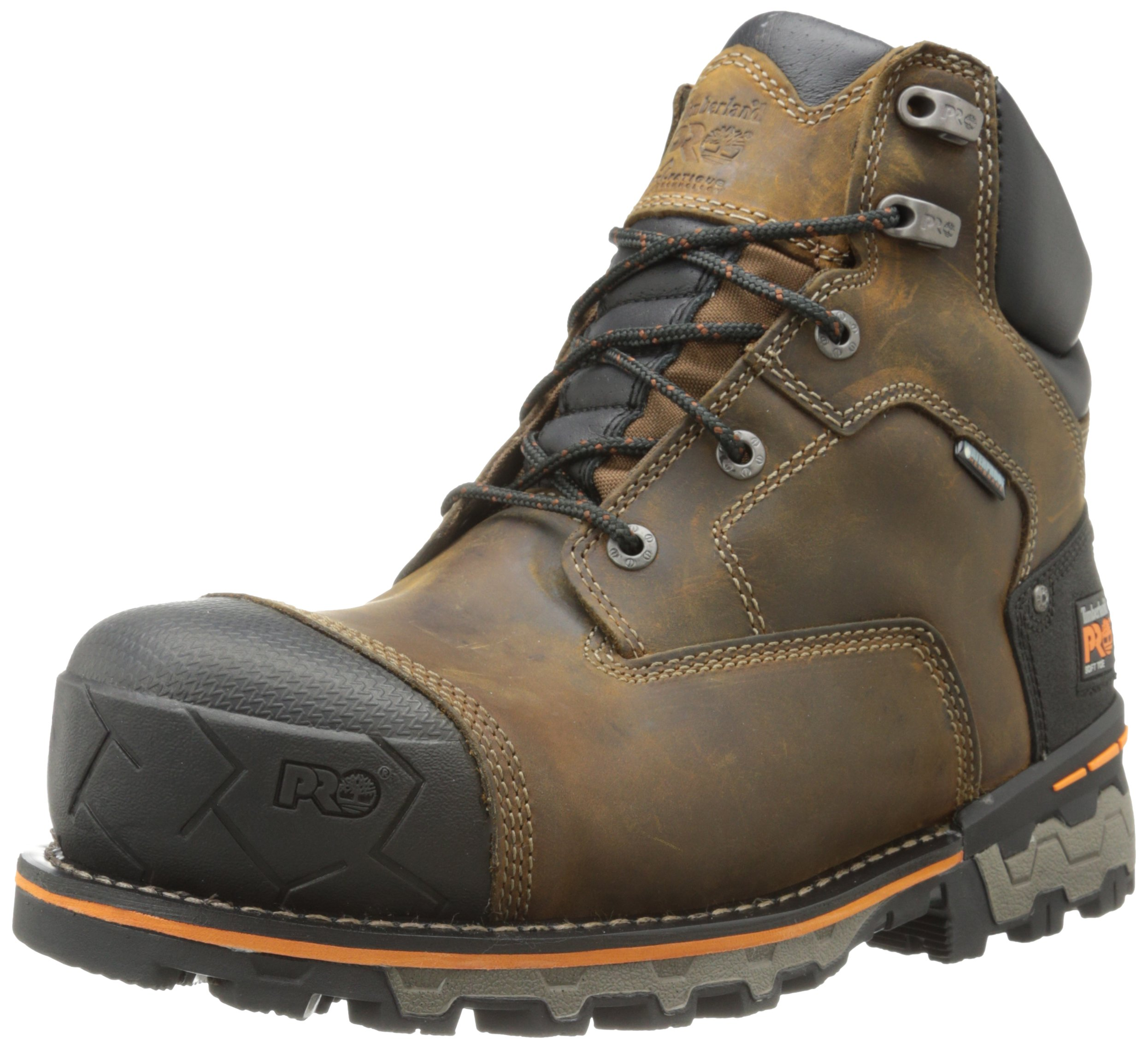 Timberland PRO Men's 6 Inch Boondock Soft Toe Waterproof Industrial Work Boot,Brown Oiled Distressed Leather,10 M US