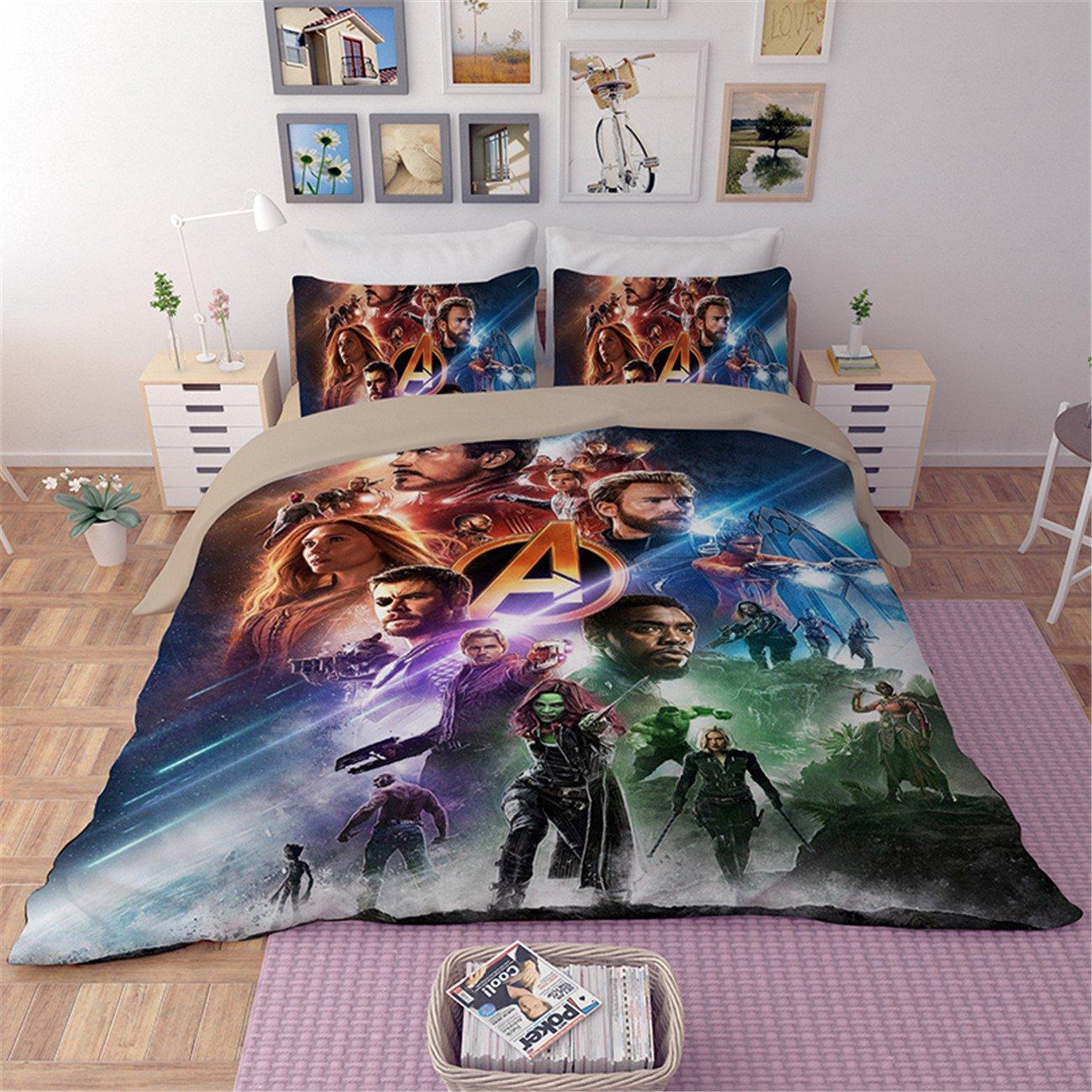 NOOS 3D Avengers Bedding Sets 2018 New Best Gifts for Bed Sheet Children Cartoon 4-Piece 1Duvet Cover,1Flat Sheet,2Pillow Shames Twin Full King Size