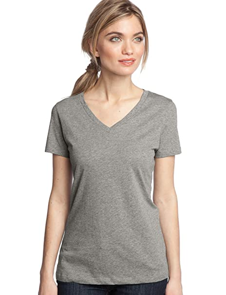 8902e5851b9 District Made Ladies Perfect Weight V-Neck Tee DM1170L XS Heathered Nickel