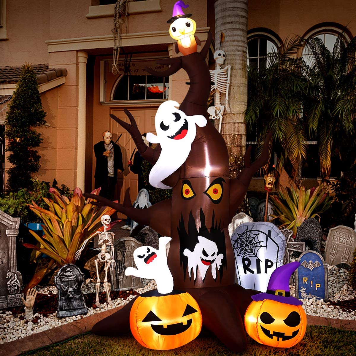 Halloween Inflatables, Blow Up LED Inflatable 9FT Dead Tree for Outdoor Indoor Garden Yard Lawn Party Holiday Decoration