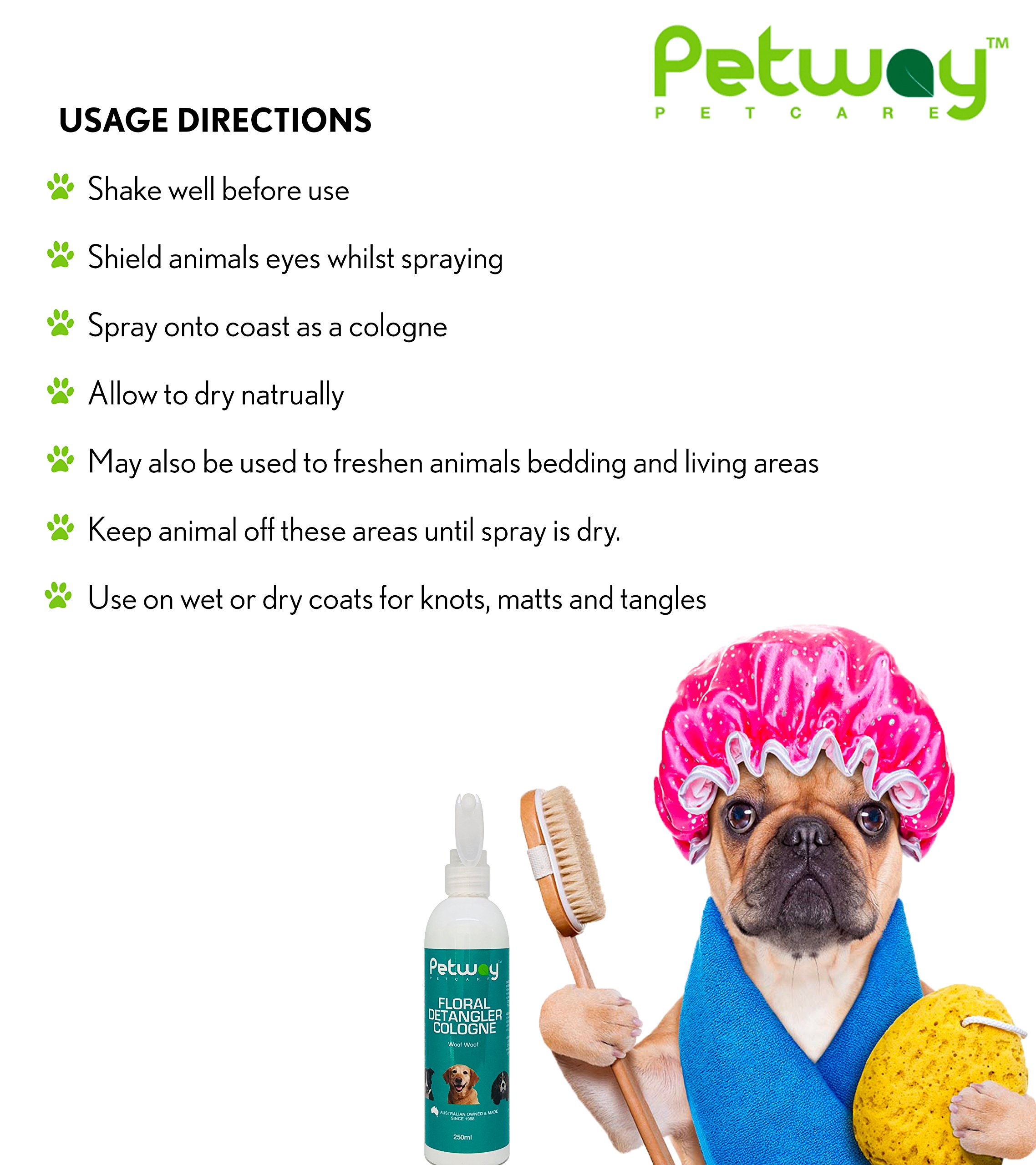 PETWAY Petcare Floral Detangler Cologne – Pet Cologne, Detangling and Dematting Spray with Deodorizing and Conditioning Qualities – Dog Grooming Detangler Conditioner Spray - 250ml by PETWAY (Image #5)