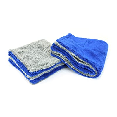 "Amphibian Detailing Towel - Dual-Weave Towel with Twist and Plush Sides, Great for Windows and Glass (Blue/Gray, Jr. (16""x16"")): Automotive"