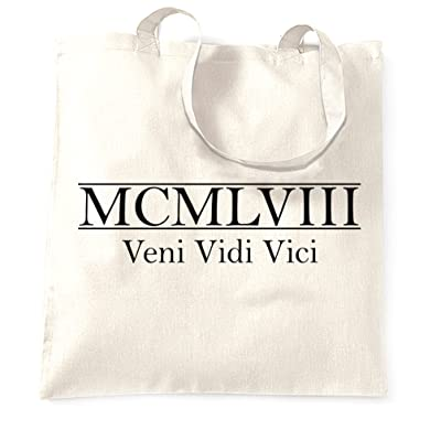 60th Birthday Tote Bag MCMLVIII Veni Vidi Vici Birth Year 1958 Keepsake