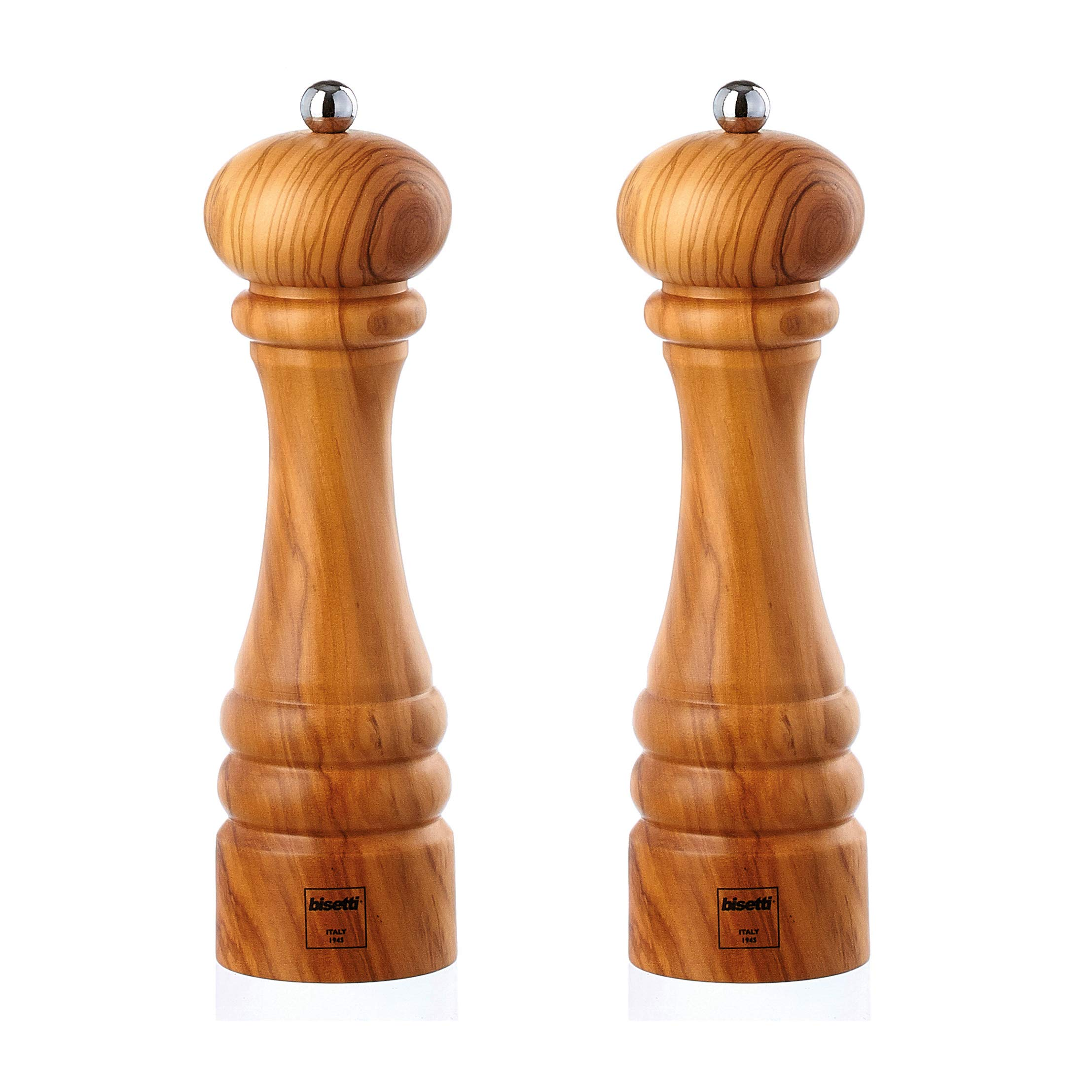 Bisetti Imperia Olive Wood Salt & Pepper Mill Set With Adjiustable Grinder, Made in Italy (8.9 Inch) by bisetti