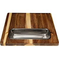 Cutting Board Wood with Colander Filter in Stainless Steel for Over The Sink