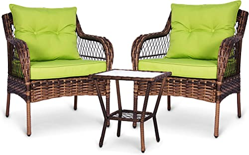 ENSTVER 3 Pieces Patio Conversation Set w/ 2 Rattan Wicker Chairs and Glass Table,for Garden Backyard Lown Porch Green