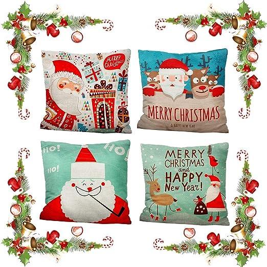 iMucci 4 Pack Feliz Navidad Algodón Lino Pillow Case Funda de Almohada para Cojín 45x45 cm