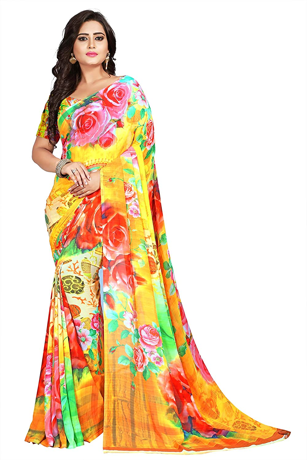 Nemi Agency Women's Multicolor Printed Casual Wear Georgette Saree With Blouse Piece(NAA179)