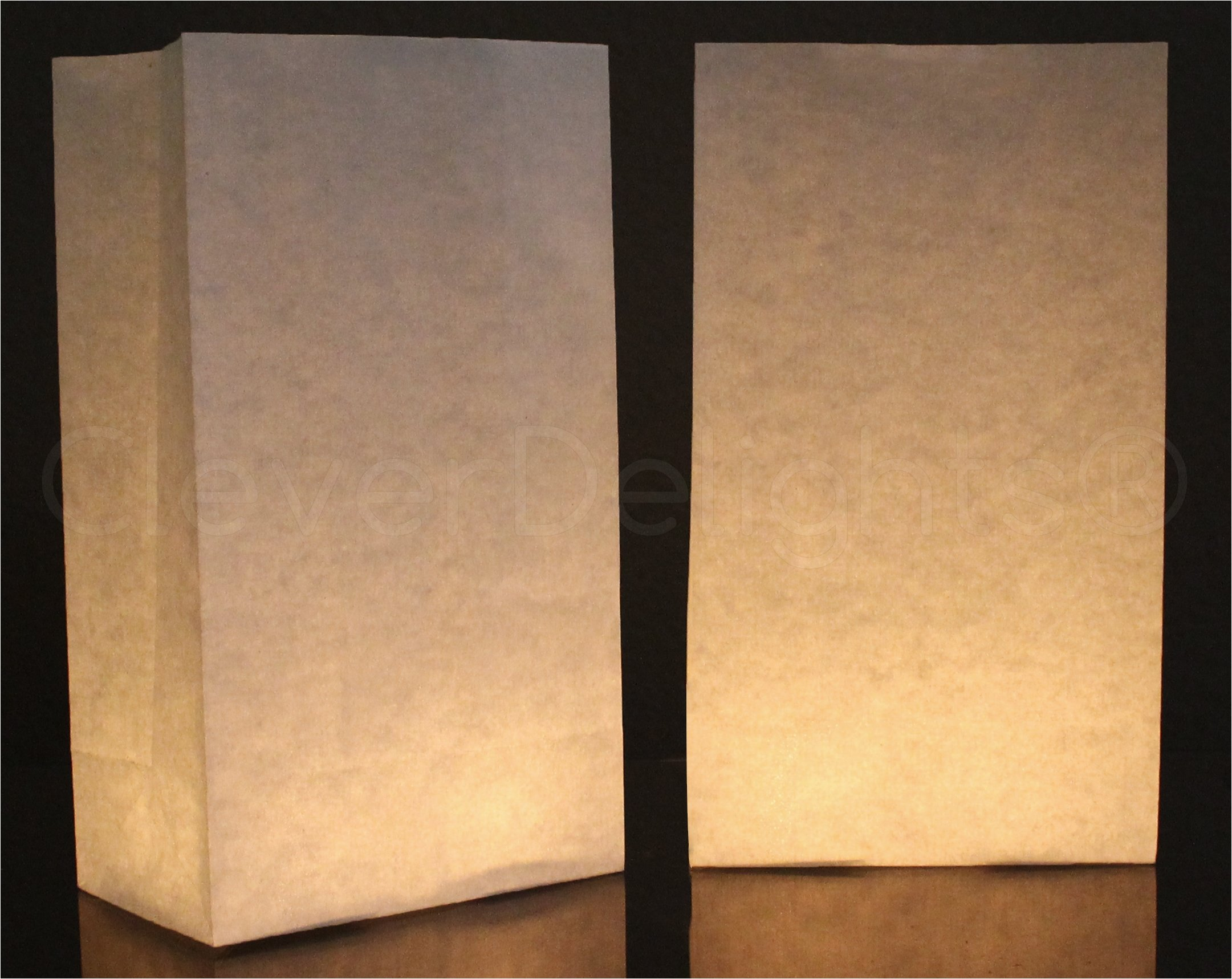 50 Pk - CleverDelights White Luminary Bags - Flame Resistant Paper - Wedding Christmas Holiday Luminaria