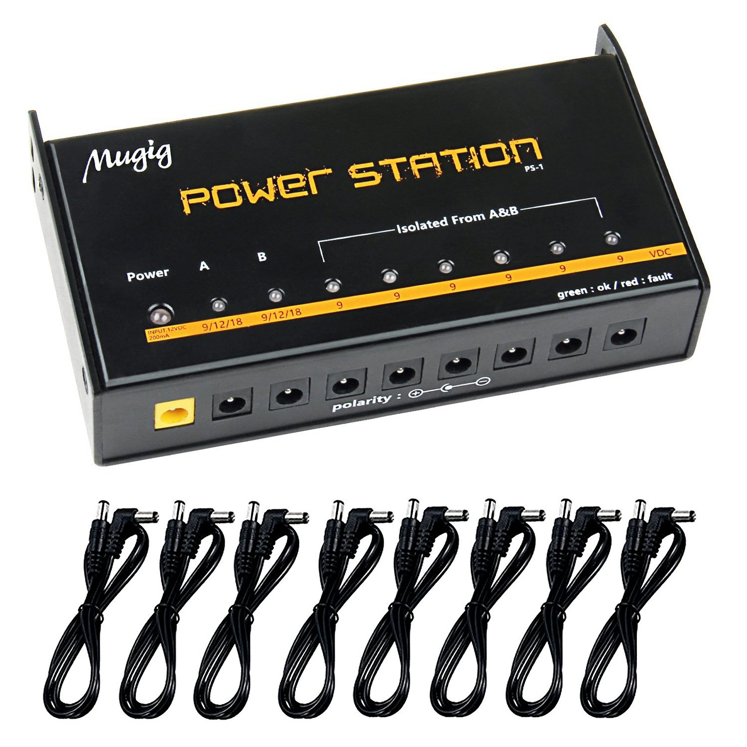 Mugig Guitar Pedal Power Supply 8 Outputs for 9V / 12V / 18V Effect Pedal Power Station with Isolated Short Circuit and Over Current Protection PS-1