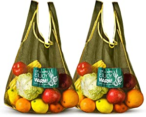 Versatile Hanging Mesh Storage Bags - Durable Onion Storage Fruit and Vegetable Bags Breathable Storage Mesh Bags for Garlics Potatoes Onions Saver Garbage Bag Organizer Bathroom Storage Bag(2 Large)