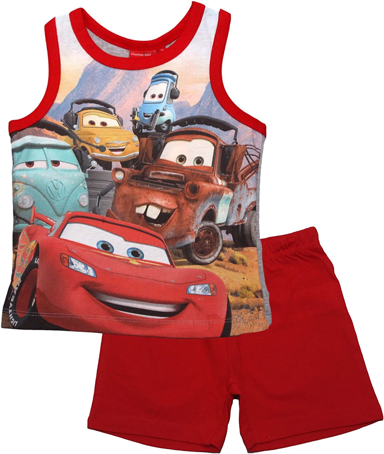 Spring Summer Collection Disney Cars Piston Cup Vest Short Sleeve Pyjama Set