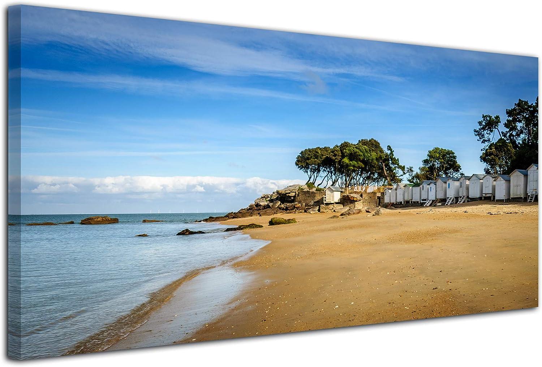 Declina - Impresión sobre Lienzo Paisaje, Cuadro Decorativo de Pared, fotografía sobre Lienzo, Cuadro de Fotos panorámico de Playa de Damas 60 x 30 cm, Lona, 100 x 50 cm
