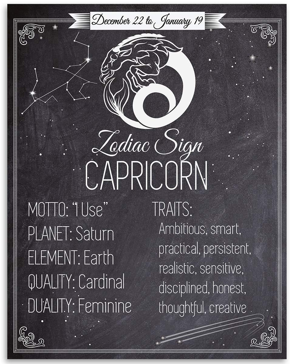Zodiac Sign Capricorn, The Sea Goat   12x12 Unframed Art Print   Great  Birthday Gift Under $12 for Astrology Enthusiasts
