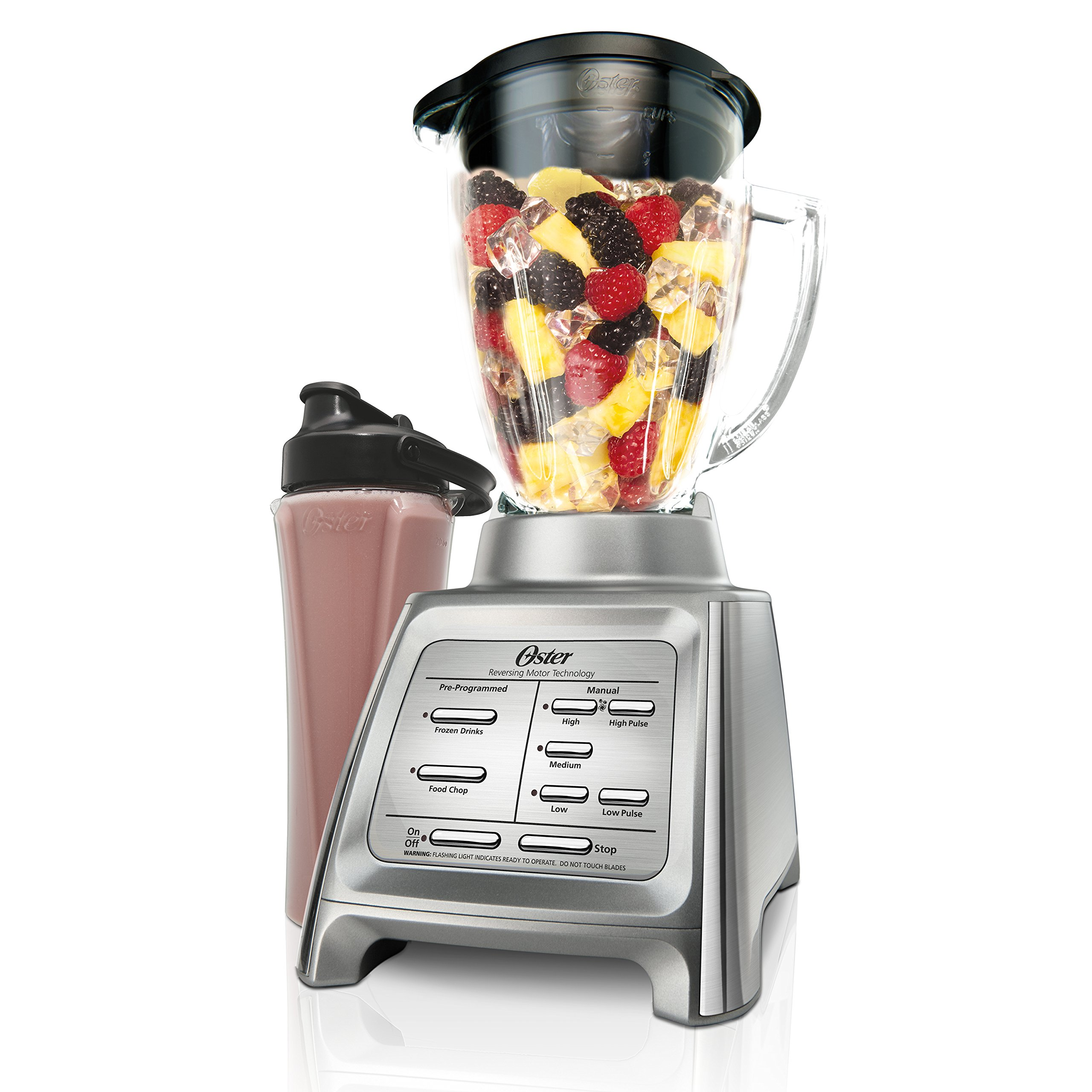 Oster Dual Action Blender with Blend-N-Go Cup, Brushed Stainless Steel (BLSTRM-DZG-BG0) by Oster