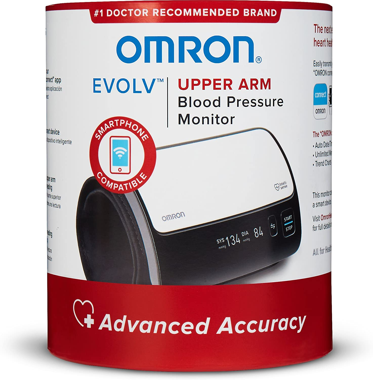 Omron Evolv Bluetooth Wireless Upper Arm Blood Pressure Monitor With Portable, Onepiece Design – Works with amazon Alexa By Omron