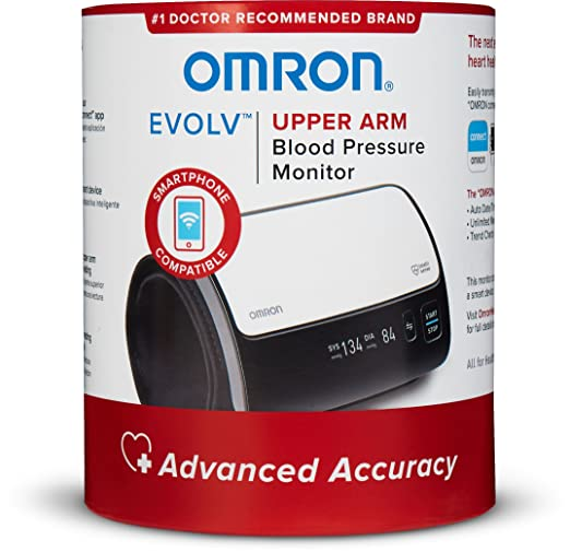 Omron Evolv Bluetooth® Wireless Upper Arm Blood Pressure Monitor with Portable, One-Piece Design – Works with Amazon Alexa by Omron
